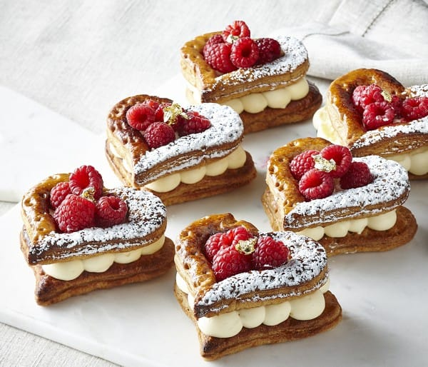 Passion fruit and raspberry feuilleté heart