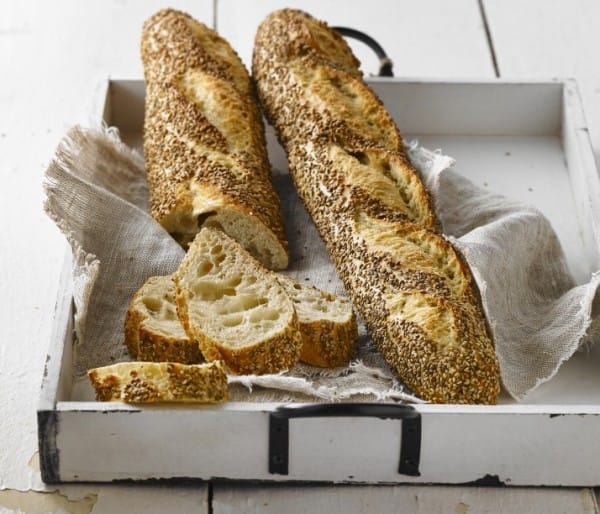 Roasted sesame coated baguette
