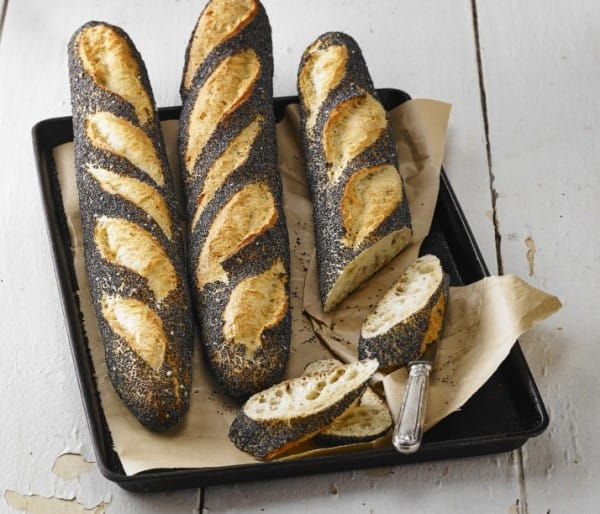 Poppy seed coated baguette