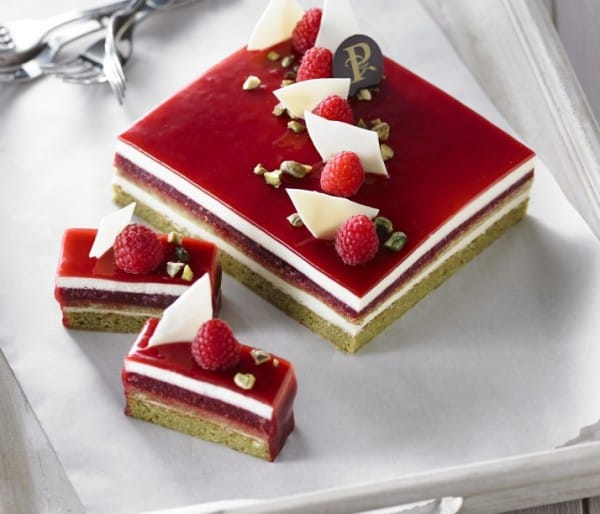Raspberry-pistachio and white chocolate