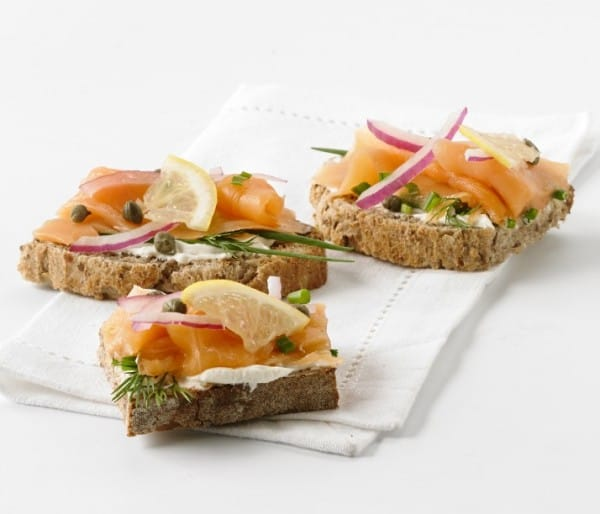Smoked salmon open-faced sandwiches platter