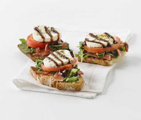 Open-faced prosciutto, goat cheese & tomato sandwiches