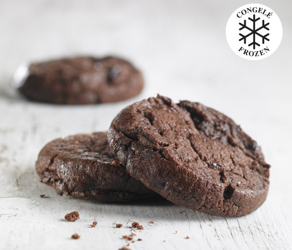 FROZEN, READY-TO-BAKE DOUBLE CHOCOLATE COOKIES