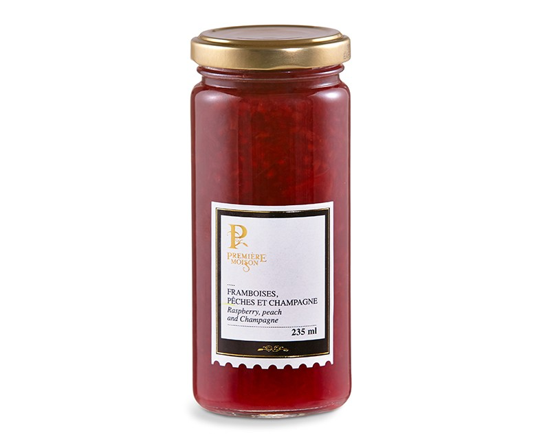 RASPBERRY, PEACH AND CHAMPAGNE JAM