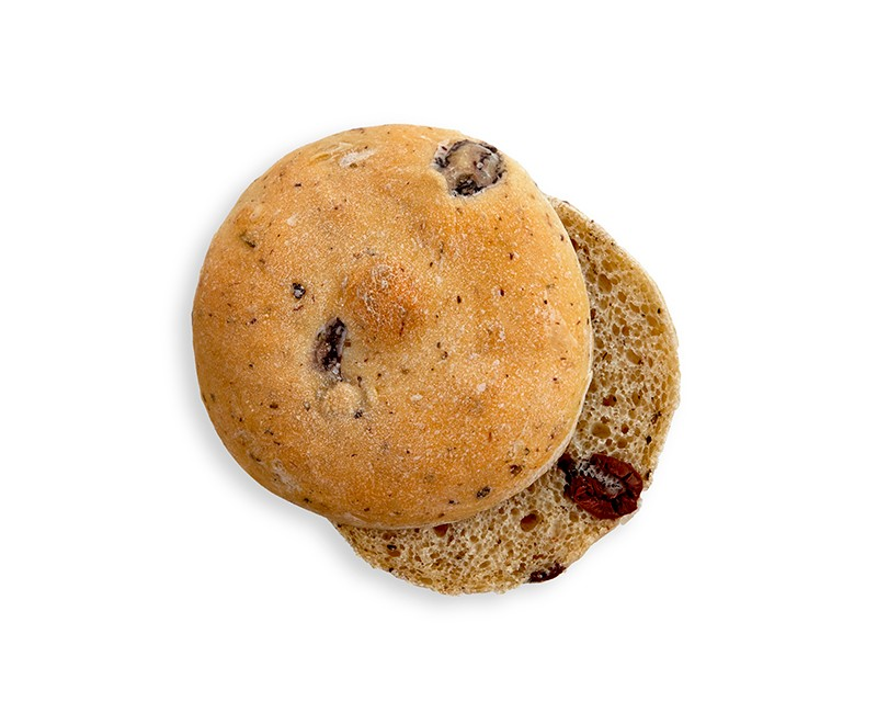HAMBURGER BUN WITH OLIVES
