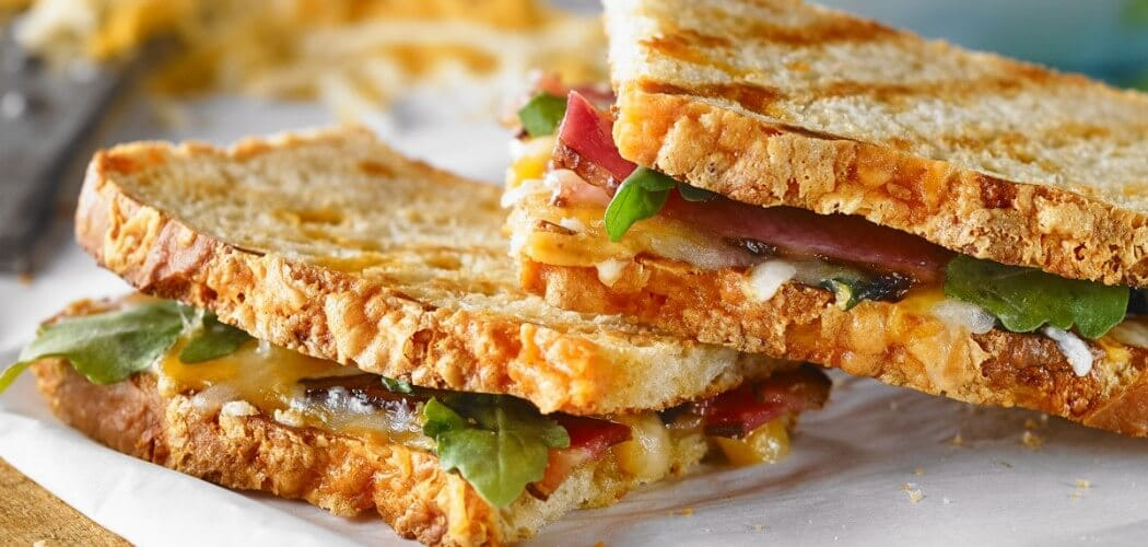 Double cheddar & bacon grilled cheese
