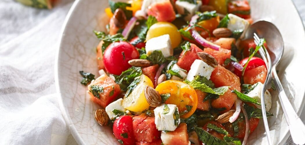 Tomato, watermelon and feta salad