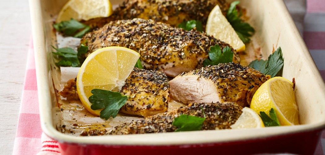 Mustard-coated chicken breasts