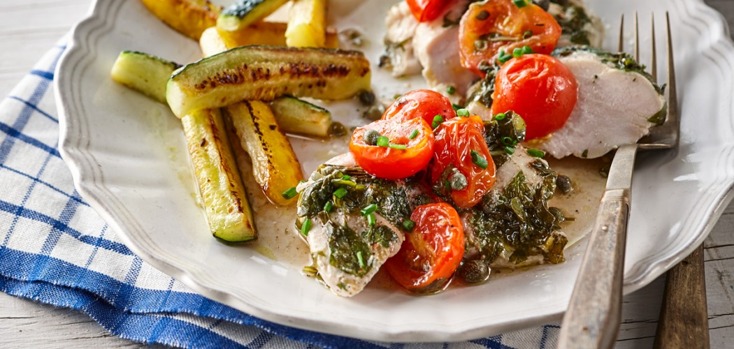 Chicken Breasts with Cherry Tomatoes, Capers and Basil
