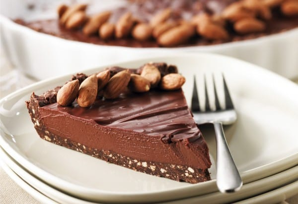 Dark chocolate and tofu pie in almond-crunch crust