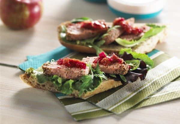 Open-Faced pâté de campagne old-style mustard and shallots Sandwiches