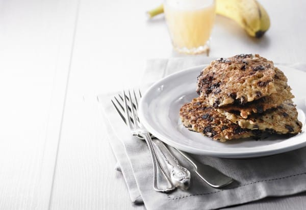 Banana-Chocolate-Oat Morning Pancakes