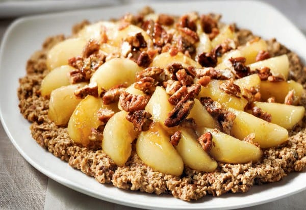 Pear tart with maple-caramelized pecans