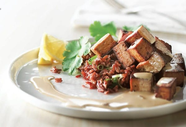 Marinated tofu with tahini sauce