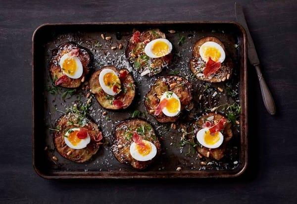 Eggplant and soft-boiled egg with prosciutto